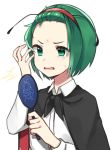 /\/\/\ 1girl antennae bangs_pinned_back black_cape cape commentary forehead gloom_(expression) green_eyes green_hair hairband hand_up highres katsuobushi_(eba_games) long_sleeves mirror open_mouth pimple red_hairband shirt short_hair simple_background solo surprised sweatdrop touhou upper_body white_background white_shirt wing_collar wriggle_nightbug