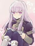 1girl book closed_mouth fire_emblem fire_emblem:_three_houses food food_on_face garreg_mach_monastery_uniform holding holding_book knees_up ktnamgmfe long_hair long_sleeves lysithea_von_ordelia open_book pink_eyes simple_background sitting solo uniform white_hair