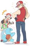 2boys baseball_cap blonde_hair blue_eyes denim fatal_fury fingerless_gloves gen_1_pokemon gloves hat jacket jeans long_hair male_focus multiple_boys muscle pants pokemon pokemon_(creature) pokemon_(game) pokemon_rgby pokemon_trainer ponytail red_(pokemon) smile snk squirtle super_smash_bros. terry_bogard the_king_of_fighters yasaikakiage