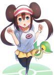 1girl :o absurdres akky_(akimi1127) black_legwear blue_eyes brown_hair double_bun gen_5_pokemon highres legwear_under_shorts long_hair looking_at_viewer mei_(pokemon) pantyhose pokemon pokemon_(creature) pokemon_(game) pokemon_bw2 pokemon_masters pokemon_trainer raglan_sleeves shoes shorts simple_background snivy standing standing_on_one_leg twintails visor_cap watch watch white_background yellow_shorts