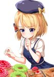 1girl ame. azur_lane bangs beret black_headwear blonde_hair blue_dress blush bow breasts brown_bow chin_stroking closed_mouth collared_shirt commentary_request doughnut dress eyebrows_visible_through_hair fingernails food hair_bow hands_up hat hat_bow looking_away looking_down shirt short_sleeves simple_background sleeveless sleeveless_dress small_breasts solo striped striped_bow violet_eyes white_background white_shirt work_in_progress z23_(azur_lane)