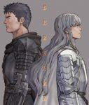 2boys armor berserk black_hair cape copyright_name fuji_(d38635s10) griffith guts long_hair male_focus multiple_boys scar sidelocks silver_hair wavy_hair