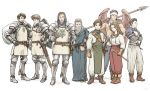 1girl 6+boys armor beard blonde_hair brown_gloves brown_hair canopus_wolph catiua_powell clenched_hand crossed_arms denim_powell facial_hair feathered_wings gauntlets gloves greaves grey_hair guildus_winzalf_burn hood lans_hamilton mildain_walhorn multiple_boys sack shield staff standing sword tactics_ogre vice_bozeg weapon windcaller wings