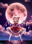 1girl absurdres arms_behind_head artist_name blonde_hair bobby_socks clouds cravat expressionless eyebrows_visible_through_hair flandre_scarlet full_body hair_between_eyes hat hat_ribbon highres holding holding_weapon laevatein legs_apart looking_at_viewer mary_janes mob_cap moon night outdoors petticoat pudding_(skymint_028) red_clouds red_eyes red_footwear red_moon red_skirt red_vest ribbon shirt shoes short_hair side_ponytail skirt skirt_set sky socks solo standing star_(sky) starry_sky touhou vest weapon white_headwear white_legwear white_shirt wings wrist_cuffs yellow_neckwear