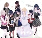 6+girls aldnoah.zero amamiya_sora antenna_hair asseylum_vers_allusia bangs bare_shoulders belt black_eyes black_hair black_ribbon black_skirt blonde_hair blue_flower blue_hair blue_nails braid brown_belt brown_eyes brown_hair character_request checkered collarbone commentary_request dress elizabeth_liones eyebrows_visible_through_hair flower hair_over_one_eye highres holding holding_flower holding_hands kirishima_touka long_hair midriff multiple_girls nanatsu_no_taizai necktie pink_shirt red_nails red_neckwear ribbon seiyuu_connection shirt short_hair sidelocks skirt tokyo_ghoul toukaairab white_dress white_hair white_shirt