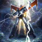 clouds cloudy_sky flying fmu great_mazinger great_mazinger_(robot) holding holding_sword holding_weapon jetpack lightning mecha oldschool sky super_robot sword weapon