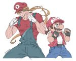 2boys baseball_cap blonde_hair blue_eyes blue_overalls cosplay costume_switch facial_hair fatal_fury fingerless_gloves gloves hat human jacket long_hair male_focus mario mario_(cosplay) mario_(series) multiple_boys muscle mustache nintendo overalls ponytail shoes short_hair simple_background smile sneakers snk sora_(company) super_mario_bros. super_smash_bros. super_smash_bros._ultimate super_smash_bros_brawl terry_bogard terry_bogard_(cosplay) the_king_of_fighters vest vinhnyu white_background
