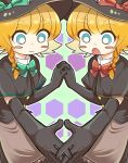 2girls blonde_hair blue_eyes blush_stickers bow braid capelet commentary cookie_(touhou) elbow_gloves eyebrows_visible_through_hair gloves hat holding_hands kirisame_marisa meguru_(cookie) multiple_girls nicoseiga26226062 open_mouth touhou witch_hat