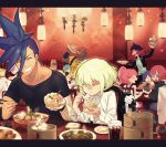 aina_ardebit biar_colossus blue_hair bowl chopsticks closed_eyes eating everyone facial_hair food galo_thymos green_hair grin gueira heris_ardebit holding holding_bowl holding_chopsticks kray_foresight lio_fotia lucia_fex meis_(promare) multiple_boys multiple_girls mustache noodles open_mouth pink_hair promare purple_hair ramen remi_puguna restaurant sakanahen siblings sisters smile soup steam sunglasses table varys_truss