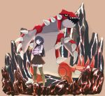 1girl bangs black_hair black_legwear black_neckwear black_ribbon black_skirt breasts brown_eyes claws closed_mouth commentary_request crossed_arms full_body gen_3_pokemon groudon happy highres kashii_takamasa legendary_pokemon long_hair long_sleeves looking_to_the_side miniskirt molten_rock neck_ribbon one_side_up open_mouth original pokemon pokemon_(creature) purple_shirt ribbon rock sharp_teeth shiny shiny_hair shirt skirt small_breasts smile spikes teeth thigh-highs tied_hair yellow_eyes zettai_ryouiki