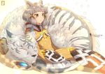 1boy 1girl animal_ears blurry blush bodysuit bokeh bubble byakko_(xenoblade) cat_ears chinchongcha curled_up depth_of_field grey_hair highres niyah sidelocks signature simple_background sleeping tiger white_background xenoblade_(series) xenoblade_2 yellow_bodysuit yellow_eyes
