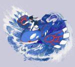 1girl arm_up bangs baseball_cap black-framed_eyewear black_footwear black_hair black_sclera black_shirt blue_eyes blue_headwear blue_vest commentary_request flat_chest full_body gen_3_pokemon glasses grin hat highres kashii_takamasa kyogre legendary_pokemon long_sleeves miniskirt original outstretched_arms pointing pokemon pokemon_(creature) print_skirt raglan_sleeves riding shirt shoes sitting skirt smile socks teeth tied_hair twintails vest wariza water waves white_legwear white_skirt yellow_eyes