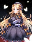 1girl abigail_williams_(fate/grand_order) absurdres bangs black_background black_bow black_dress blonde_hair blue_eyes blush bow bug butterfly dress fate/grand_order fate_(series) forehead gradient gradient_background hair_bow highres insect long_hair long_sleeves looking_at_viewer mi_yeon orange_bow parted_bangs polka_dot polka_dot_bow sleeves_past_fingers sleeves_past_wrists sparkle stuffed_animal stuffed_toy teddy_bear white_bloomers