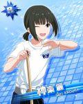 black_hair blue_eyes character_name idolmaster idolmaster_side-m kagura_rei shirt short_hair smile wink