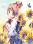 1girl animal backpack bag bangs blurry blurry_background blush bow brown_eyes brown_hair bug butterfly collared_shirt commentary_request depth_of_field eyebrows_visible_through_hair flower grey_skirt hair_bun holding_strap insect kuga_tsukasa licking_lips looking_at_viewer looking_to_the_side original parted_lips pleated_skirt red_bow shirt short_sleeves sidelocks skirt solo sunflower tongue tongue_out white_shirt yellow_flower
