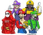 5boys artist_name bare_chest belt blizzard_(company) cosplay crossed_arms cyborg fake_facial_hair fake_mustache genji_(overwatch) gloves grin hanzo_(overwatch) jewelry junkrat_(overwatch) luigi luigi_(cosplay) mario mario_(cosplay) mario_(series) mario_tennis markraas mask multiple_boys mushroom ninja nintendo nintendo_ead overwatch reaper_(overwatch) ring roadhog_(overwatch) shy_guy shy_guy_(cosplay) smile super_mario_bros. super_mario_bros._2 super_smash_bros. thumbs_up waluigi waluigi_(cosplay) wario wario_(cosplay) wario_land yoshi's_island