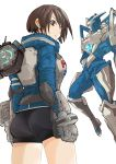1girl akira_howard ass astral_chain boots brown_eyes brown_hair chain gloves highres jacket knee_boots long_sleeves looking_at_viewer nikukaiq police police_uniform short_hair simple_background solo uniform white_background