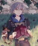 1boy artist_name ashe_ubert book cat epaulettes fenori fire_emblem fire_emblem:_three_houses flower freckles garreg_mach_monastery_uniform grass green_eyes grey_hair highres leaf solo