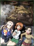 3girls :d asymmetrical_bangs bangs bc_freedom_school_uniform black_hair black_skirt blonde_hair blue_shirt border bridge brown_eyes brown_hair chi-hatan_school_uniform drill_hair eating emblem eyebrows_visible_through_hair flag food girls_und_panzer green_border green_eyes green_skirt ground_vehicle highres holding marie_(girls_und_panzer) military military_vehicle motor_vehicle movie_theater multiple_girls necktie nishi_kinuyo nishizumi_miho official_art ooarai_(emblem) ooarai_military_uniform ooarai_school_uniform open_mouth p38 panzerkampfwagen_iv pleated_skirt popcorn red_skirt school_uniform shirt sitting skirt smile smoke sturmgeschutz_iv tan_shirt tank tank_turret theater throat_microphone white_shirt wooden_bridge