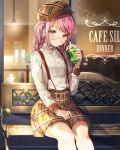 1girl absurdres arm_up bang_dream! bangs bench blurry braid brown_headwear brown_shorts cafe commentary_request cup depth_of_field disposable_cup drinking_straw feet_out_of_frame flat_cap glasses hand_on_lap hat head_tilt high_collar highres logo long_hair long_sleeves looking_at_viewer maruyama_aya nogi_momoko open_mouth pink_eyes pink_hair plaid plaid_hat plaid_shorts rimless_eyewear shirt shorts sitting sleeve_cuffs solo starbucks starbucks_siren storefront suspender_shorts suspenders swept_bangs twin_braids white_shirt