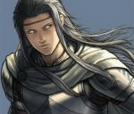 1boy armor cu_chulainn_(megami_tensei) expressionless fuji_(d38635s10) grey_background grey_hair grey_scarf long_hair lowres male_focus portrait scarf shin_megami_tensei shin_megami_tensei_i solo white_eyes
