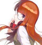 1girl atlus bangs black_bow black_eyes bow commentary eyebrows_visible_through_hair female_focus glasses grin headphones large_bow lemonpear long_hair looking_at_viewer megami_tensei orange_hair persona persona_5 sakura_futaba shirt simple_background smile solo striped striped_sweater sweater white_background white_shirt