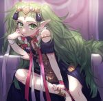 1girl braid closed_mouth fire_emblem fire_emblem:_three_houses green_eyes green_hair hair_ornament highres itou_(very_ito) long_hair manakete pointy_ears sitting solo sothis_(fire_emblem) throne tiara twin_braids