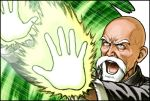 1boy bald beard black_border border dragon_ball dragon_ball_(classic) facial_hair fuji_(d38635s10) glowing grey_eyes male_focus muten_roushi old_man open_mouth solo veins