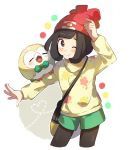 1girl adapted_costume alternate_costume arm_up bangs beanie bird black_eyes black_hair black_legwear blush closed_mouth color_guide cowboy_shot cropped_legs flat_chest floral_print full_body gen_7_pokemon green_shorts happy hat heart highres long_sleeves looking_at_viewer mizuki_(pokemon) one_eye_closed outline outstretched_arm owl pantyhose poke_ball_symbol poke_ball_theme pokemon pokemon_(creature) pokemon_(game) pokemon_sm red_headwear rowlet shiny shiny_hair short_hair short_shorts shorts simple_background smile standing sweater unapoppo white_outline yellow_sweater