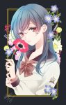 1girl anemone_(flower) bangs black_background blue_flower blue_hair bow brown_bow brown_sailor_collar commentary eyebrows_visible_through_hair fingernails flower highres holding holding_flower long_hair long_sleeves looking_at_viewer original parted_lips pink_flower purple_flower red_eyes red_flower sailor_collar sheepd shirt signature solo upper_body white_flower white_shirt