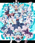 >_< (9) 6+girls :d ? absurdres advent_cirno ahoge alternate_color alternate_hair_length alternate_hairstyle aqua_bow arm_up arms_up ascot bangs barefoot black_gloves blue_background blue_bow blue_dress blue_eyes blue_hair blue_panties blue_shirt blue_skirt blush_stickers bow bowtie breasts brown_footwear chibi cirno closed_eyes closed_mouth collarbone collared_shirt commentary_request cosplay crown detached_sleeves do_(4-rt) dress eyebrows_visible_through_hair fang flower frilled_bow frilled_dress frilled_shirt_collar frilled_sleeves frills gloves gohei hair_bow hakurei_reimu hakurei_reimu_(cosplay) hand_on_hip heart heart_ahoge highres index_finger_raised leg_up letterboxed loafers long_hair long_sleeves looking_at_viewer midriff multiple_girls multiple_persona navel neck_ribbon no_pants nontraditional_miko notice_lines one_eye_closed open_mouth outside_border outstretched_arm outstretched_arms panties pinafore_dress pink_flower plant player_2 puffy_short_sleeves puffy_sleeves purple_bow purple_dress red_bow red_neckwear red_ribbon ribbon shirt shoes short_hair short_sleeves skirt sleeveless sleeveless_dress small_breasts smile sparkle spoken_question_mark squiggle standing standing_on_one_leg star striped striped_panties sunflower sword sword_behind_back tan tanline tanned_cirno touhou underwear vines violet_eyes weapon white_shirt wide_sleeves wing_collar wings xd yellow_neckwear
