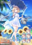 alternate_costume azur_lane beach bird blonde_hair blurry blurry_background breasts cannon carabiniere_(azur_lane) commentary_request curly_hair expressions flower full_body headband kaede_(003591163) manjuu_(azur_lane) official_art open_mouth seagull short_hair standing sunflower turret umbrella violet_eyes