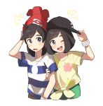 1boy 1girl adjusting_headwear arm_grab backwards_hat bangs baseball_cap beanie black_hair black_headwear blue_shirt blush bracelet cowboy_shot cropped_legs flat_chest floral_print green_shorts grey_eyes hand_up happy hat headwear_switch jewelry looking_at_another looking_to_the_side mizuki_(pokemon) notice_lines open_mouth poke_ball_symbol poke_ball_theme pokemon pokemon_(game) pokemon_sm red_headwear shiny shiny_hair shirt short_hair short_shorts short_sleeves shorts simple_background smile standing striped striped_shirt teeth tied_shirt unapoppo white_background yellow_shirt you_(pokemon)