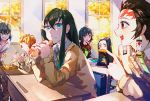 2boys 4girls agatsuma_zenitsu aqua_hair black_hair black_serafuku blonde_hair blue_eyes cardigan character_request chopsticks classroom desk earrings eating facial_mark food food_on_face forehead_mark green_eyes green_neckwear indoors jewelry kamado_nezuko kamado_tanjirou kimetsu_no_yaiba long_hair mouth_hold multiple_boys multiple_girls namazuouko necktie obentou open_mouth pink_eyes scar school_desk school_uniform serafuku shirt short_hair sidelocks sitting tokitou_muichirou very_long_hair white_shirt window