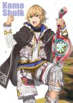 1boy armor blonde_hair blue_eyes cape gloves highres looking_at_viewer male_focus monado open_mouth short_hair shulk simple_background super_smash_bros. sword weapon xenoblade_(series) xenoblade_1 yappen