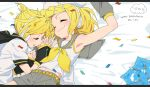 1boy 1girl arm_warmers belt black_collar black_sleeves blonde_hair bow candle character_name closed_eyes collar collared_shirt commentary confetti fork grey_collar grey_shorts grey_sleeves hair_bow hair_ornament hairclip hand_up happy_birthday headphones headset heart holding_hands iihoneikotu kagamine_len kagamine_rin light_blush midriff napkin navel parted_lips school_uniform shirt short_ponytail short_sleeves shorts siblings sleeping smile spiky_hair twins vocaloid white_bow white_shirt