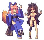 2girls :3 absurdres animal_ear_fluff animal_ears armlet asymmetrical_legwear asymmetrical_sleeves bangs barefoot black_ribbon blue_bow blue_kimono blue_legwear bow crown earrings elbow_gloves fate/grand_order fate_(series) fox_ears fox_girl fox_shadow_puppet fox_tail gloves gold_trim highres hoop_earrings ishtar_(fate/grand_order) j5-daigada japanese_clothes jewelry kimono multiple_girls neck_ring parted_bangs pink_hair ribbon sandals simple_background single_elbow_glove single_thighhigh smile tail tamamo_(fate)_(all) tamamo_no_mae_(fate) thigh-highs tiara toeless_legwear white_background yellow_eyes