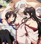 3girls absurdres akagi_(kantai_collection) alcohol blush bottle brown_hair closed_eyes drooling drunk hairband hickey highres japanese_clothes kaga_(kantai_collection) kantai_collection long_hair miiii multiple_girls open_clothes open_mouth sake_bottle shoukaku_(kantai_collection) side_ponytail sweat thigh-highs waking_up white_hair