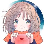 1girl bangs blush brown_hair closed_mouth commentary_request eyebrows_visible_through_hair fingernails green_eyes hands_up heart heart_in_eye hiroshi_(jasinloki) holding long_sleeves looking_at_viewer nail_polish orange_scarf original red_nails scarf smile solo symbol_in_eye