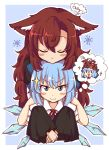>:) 2girls :d animal_ear_fluff animal_ears bangs blue_background blue_bow blue_eyes blue_hair blush border bow brown_hair cirno closed_eyes commentary disembodied_head eyebrows_visible_through_hair eyelashes hair_between_eyes hair_bow ice ice_wings imaizumi_kagerou long_hair looking_at_viewer multiple_girls mundane_utility open_mouth outline outside_border puffy_short_sleeves puffy_sleeves shirt short_hair short_sleeves simple_background smile snowflakes sparkle thought_bubble tongue tongue_out touhou upper_body v-shaped_eyebrows white_border white_outline white_shirt wings wolf wolf_ears wool_(miwol) x_x yuri |_|