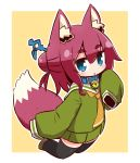 1girl :o alternate_color animal_ear_fluff animal_ears bangs beige_background bell bell_collar black_legwear blue_collar blue_eyes blush brown_footwear collar commentary_request eyebrows_visible_through_hair fox_ears fox_girl fox_tail full_body green_shirt green_skirt hair_between_eyes hair_bun hair_ornament highres jingle_bell kemomimi-chan_(naga_u) long_hair long_sleeves looking_at_viewer naga_u orange_neckwear original outline parted_lips pleated_skirt redhead sailor_collar shirt shoes sidelocks skirt sleeves_past_fingers sleeves_past_wrists solo tail tail_raised thick_eyebrows thigh-highs two-tone_background white_background white_outline white_sailor_collar