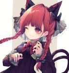 1girl animal_ears black_ribbon braid cat_ears cat_tail dress ears extra_ears frilled_dress frills green_dress highres hito_komoru juliet_sleeves kaenbyou_rin long_sleeves multiple_tails nekomata one_eye_closed puffy_sleeves red_eyes redhead ribbon smile tail touhou twin_braids two_tails