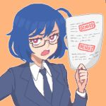 1girl ahoge bangs blue_hair blue_neckwear collared_shirt commentary fang glasses hair_between_eyes hcnone holding holding_paper jacket looking_at_viewer necktie office_lady open_mouth orange_background original paper pixel_art red_eyes shirt short_hair simple_background skye_(hcnone) solo upper_body white_shirt
