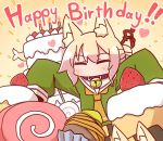 1girl animal_ear_fluff animal_ears bangs bell bell_collar birthday_cake blonde_hair blush brown_collar burning cake candle candy closed_eyes collar commentary_request eyebrows_visible_through_hair facing_viewer fire food fox_ears fox_girl fox_tail fruit green_shirt hair_between_eyes hair_bun hair_ornament happy_birthday heart highres kemomimi-chan_(naga_u) lollipop long_hair long_sleeves naga_u orange_neckwear original outstretched_arms sailor_collar shirt sidelocks sleeves_past_fingers sleeves_past_wrists solo strawberry swirl_lollipop swiss_roll tail white_sailor_collar