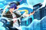 2boys belt black_gloves black_hair black_hairband black_jacket black_pants blue_eyes blue_hair bracelet closed_mouth collarbone gloves hair_over_one_eye hairband holding_hands jacket jewelry looking_at_viewer mochizuki_ryouji moon multiple_boys open_clothes open_jacket pants persona persona_3 print_shirt scarf shiny shiny_hair shirt short_hair sleeves_rolled_up smile summer_rin white_shirt yellow_scarf yuuki_makoto
