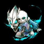 1boy black_background blue_fire fire gasterblaster glowing glowing_eye highres male_focus rio_717 sans skeleton solo squatting super_smash_bros. undertale