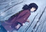 1boy bare_tree black_hair blue_eyes clenched_hand closed_mouth commentary_request dutch_angle haori japanese_clothes kimetsu_no_yaiba long_sleeves looking_back low_ponytail male_focus outdoors rupinesu signature snowing solo standing sword tomioka_giyuu tree weapon wide_sleeves winter