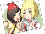 2girls arm_up bangs beanie black_eyes black_hair blonde_hair blush bracelet braid drawstring flat_chest floral_print french_braid green_background green_eyes hand_up happy hat jewelry lillie_(pokemon) looking_at_viewer mizuki_(pokemon) multiple_girls open_mouth outstretched_arm poke_ball_symbol poke_ball_theme pokemon pokemon_(game) pokemon_sm ponytail red_headwear self_shot shiny shiny_hair shirt short_hair short_sleeves simple_background smile teeth tied_hair unapoppo upper_body v white_shirt yellow_shirt