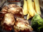 absurdres artist_request barbacue broccoli food highres meat no_humans plate potato_wedges sauce steak steam still_life