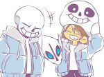 1boy 1other blush_stickers brown_hair cosplay frisk_(undertale) gasterblaster grin helmet majimelon mask sans sans_(cosplay) smile super_smash_bros. undertale yellow_skin